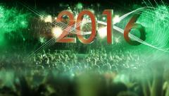 2016_crowd of people and fireworks explosions (slider camera) green Stock Footage