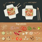 Chinese noodles with ingredients. - stock illustration