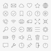 Line Web and User Interface Design Icons Big Set Stock Illustration