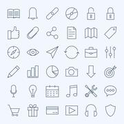 Line Universal Web and Mobile User Interface Icons Set Stock Illustration