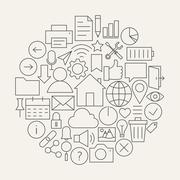Universal Web and Mobile User Interface Line Icons Set Circular Shaped - stock illustration