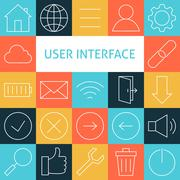 Stock Illustration of Vector Line Art Modern Web and Mobile User Interface Icons Set