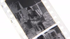photo image on film strip, vintage frame - stock footage