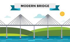 Modern bridge vector illustration Stock Illustration