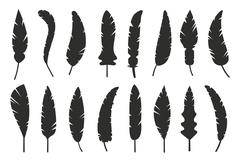 Feathers vector black and white silhouette collection - stock illustration