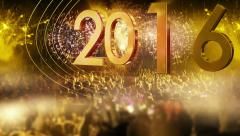 2016_crowd of people and fireworks explosions (slider camera) YELLOW - stock footage