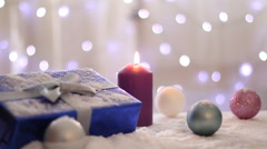 Christmas presents and ornaments, Background blinking lights Stock Footage