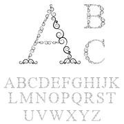Alphabet letters of tracery curls - stock illustration