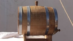 Wooden oak barrel for beer, wine, whiskey, ale or vodka Stock Footage