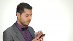 Young business man using mobile phone Stock Footage