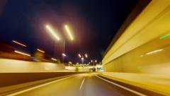 4K 25p Driving pov modern highway timelapse/hyperlapse night, rapid speed - stock footage