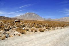 Barren volcanic landscape of the Atacama Desert, Chile - stock photo
