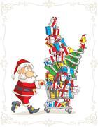 Stock Illustration of Santa Claus with Shopping Cart Vector Cartoon