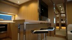 Kitchen on a luxury yacht Stock Footage