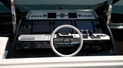 Cockpit on the upper deck of a luxury yacht - stock footage