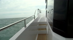 On board view of boat navigating on choppy sea Stock Footage