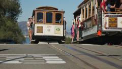 San Francisco Cable Cars Pass Each Other Near Lombard Street Stock Footage