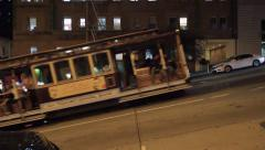 Stock Video Footage of San Francisco Cable Car Climbs Steep Hill
