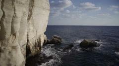 Stock Video Footage of Mediterranean sea, Rosh Hanikra grottoes, Israel Lebanon border