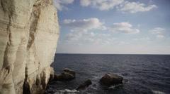 Grottos cave, ocean water secret underground cave, Rosh Hanikra, Israel Stock Footage