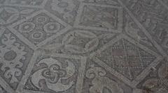 Roman and Byzantine ancient pattern mosaic, close up, Zippori, Israel Stock Footage