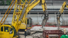 Excavator crusher crush concrete and metal construction, timelapse. Stock Footage