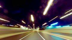 4K 25p Driving pov ultrawide futuristic highway timelapse night,speed Stock Footage