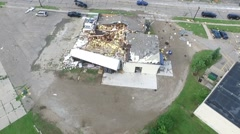 Aerial fly over tornado damage, wreckage aftermath Stock Footage