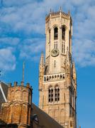 Belfry Tower of Bruges - stock photo