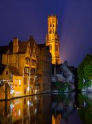Bruges at night - stock photo