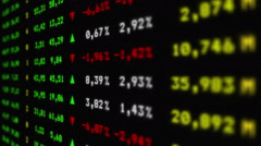 Colorful stock market board moving up, animation - stock footage