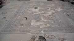 Roman and Byzantine ancient mosaic, tilt up, Tzipori, Israel Stock Footage
