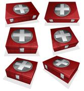 Set of First aid kit box - stock illustration