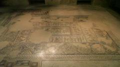 Beautiful ancient mosaic, Tzipori, Israel Stock Footage
