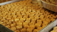 Colorful arabic Baklava dessert pastries, close up Stock Footage