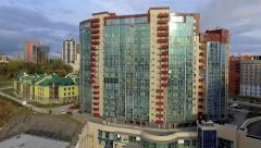 Aerial view of the city of Novosibirsk Stock Footage