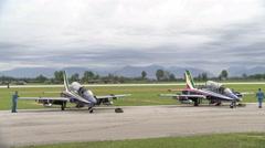 Mechanics check Frecce Tricolori plane Stock Footage