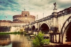 Castel Sant'Angelo, Rome, Italy. Tiber river and the Sant'Angelo brid Stock Photos