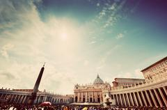 St. Peters Square, Piazza San Pietro in Vatican City. View on the Basili - stock photo