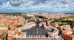 St. Peters Square, Piazza San Pietro in Vatican City. Rome, Italy in the - stock photo