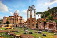 The Roman Forum, Italian Foro Romano in Rome, Italy Stock Photos