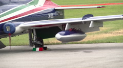Detail of Frecce Tricolori plane ready for event Stock Footage