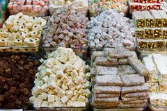 Turkish Delights in Spice Bazaar Stock Photos
