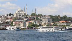 Beyoglu district  historic architecture and Muslim Mosque. Istanbul, Turkey - stock footage