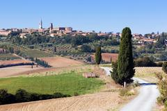 Stock Photo of Tuscany landscape with Pienza town on the hill, Italy.