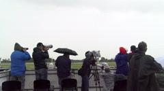 Media attend 55th anniversary event of the Frecce Tricolori - stock footage