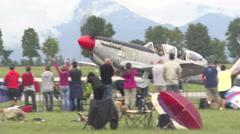 Stock Video Footage of Historic airplane ready for aerobatic demonstration