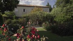 Pan on provençal House with rose garden, Nice Stock Footage
