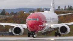 Airplane NAX Norwegian Boeing 737 taxiing ambient audio - stock footage