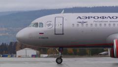 Stock Video Footage of Airplane Aeroflot Airbus A319 take off ambient audio